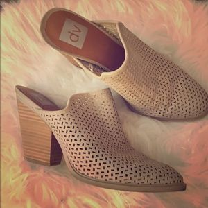 DV by Dolce Vita Cream Perforated Heeled Mule